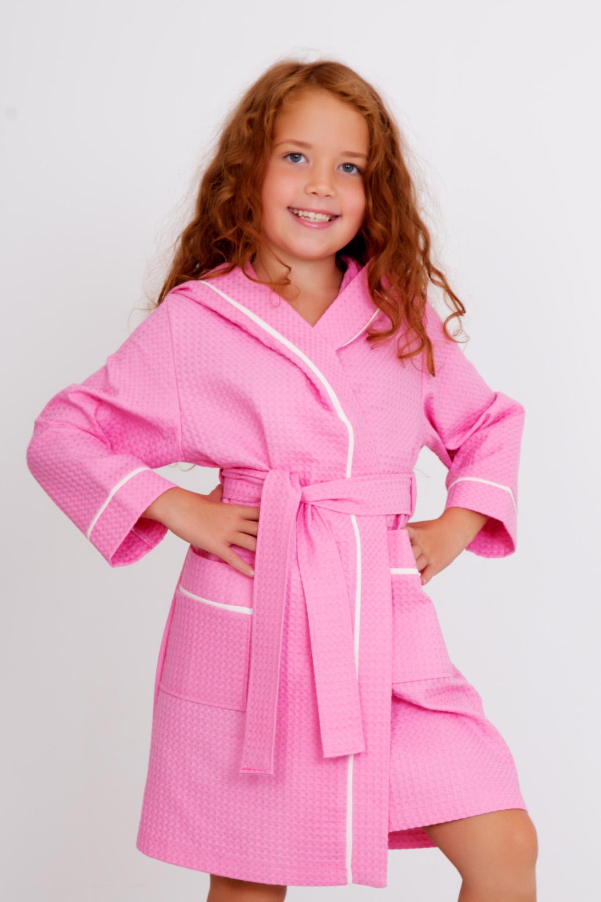 Дет. халат Банный Розовый р. 32Халаты<br><br><br>Тип: Дет. халат<br>Размер: 32<br>Материал: Вафельное полотно