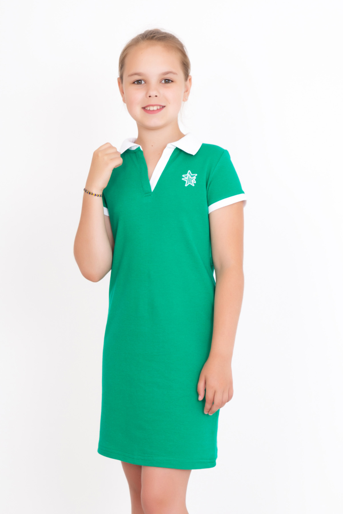 Дет. платье арт. 18-0126 Зеленый р. 32Платья и сарафаны<br><br><br>Тип: Дет. платье<br>Размер: 32<br>Материал: Пике
