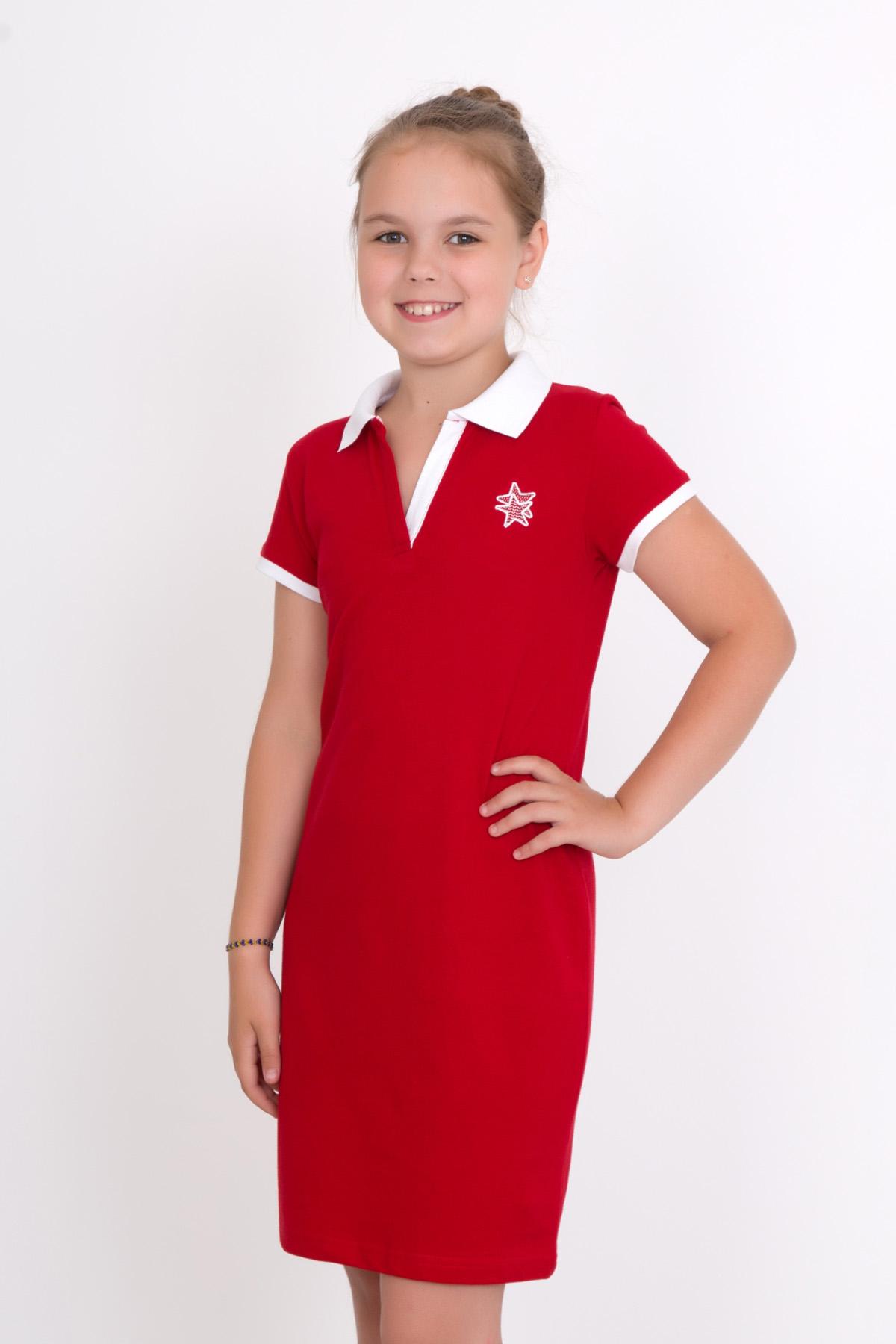 Дет. платье арт. 18-0126 Красный р. 32Платья и сарафаны<br><br><br>Тип: Дет. платье<br>Размер: 32<br>Материал: Пике