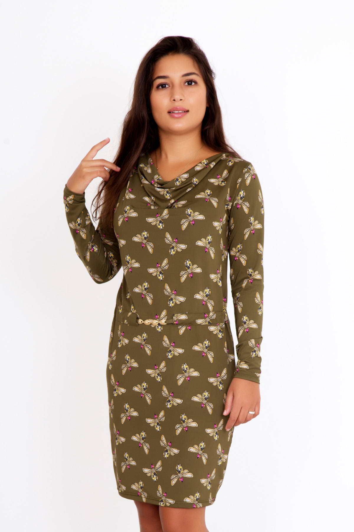 Жен. платье Стрекоза р. 54Распродажа<br>Обхват груди:108 см<br>Обхват талии:88 см<br>Обхват бедер:116 см<br>Длина по спинке:95 см<br>Рост:167 см<br><br>Тип: Жен. платье<br>Размер: 54<br>Материал: Масло