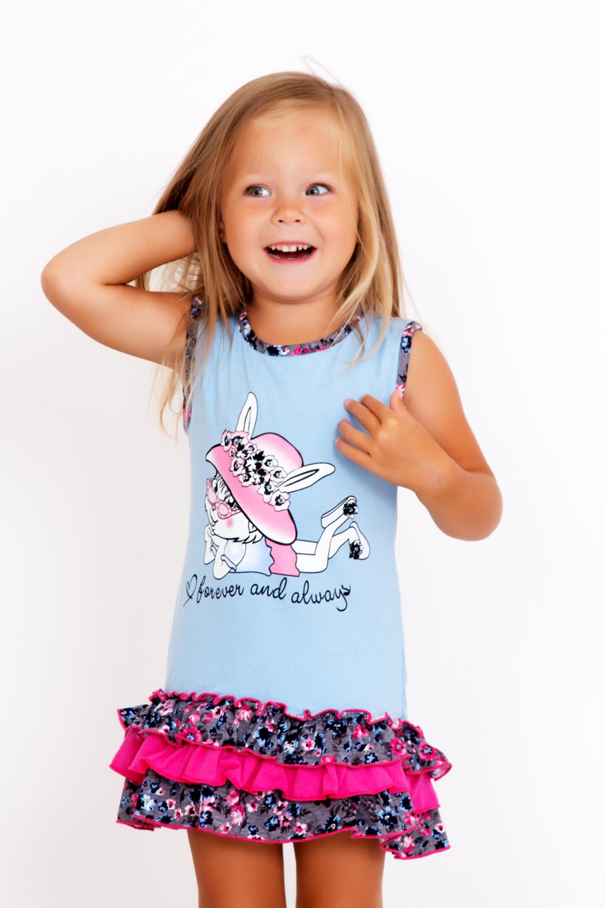 Дет. платье Зайка Голубой р. 28Платья и сарафаны<br><br><br>Тип: Дет. платье<br>Размер: 28<br>Материал: Фулайкра
