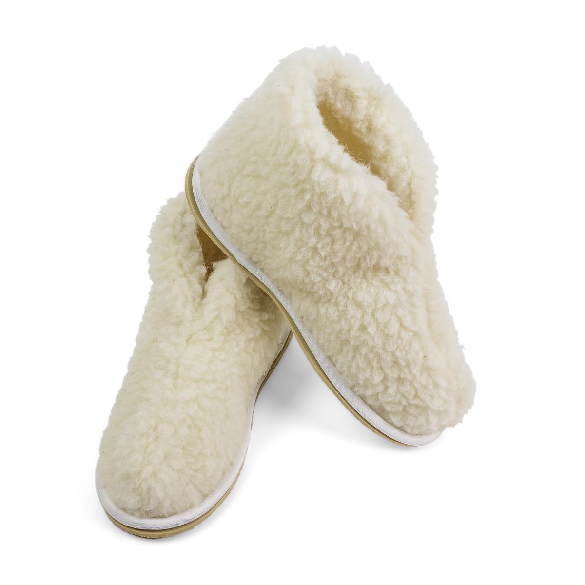 Обувь Бабуши Уют Белый р. 42-43Согревающий<br><br><br>Тип: Обувь<br>Размер: 42-43<br>Материал: Овечья шерсть