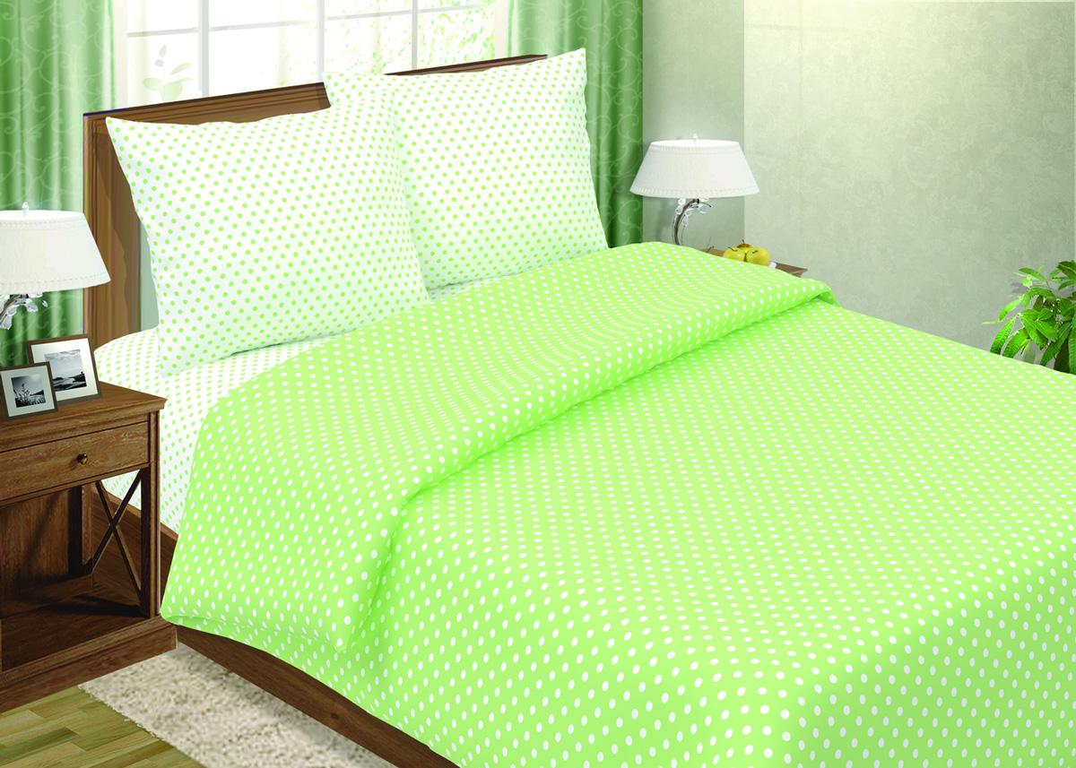 КПБ Горошек Зеленый р. 2,0-сп. евроПоплин<br>Плотность ткани:118 г/кв. м<br>Пододеяльник:215х175 см - 1 шт.<br>Простыня:220х240 см - 1 шт.<br>Наволочка:70х70 см - 2 шт.<br><br>Тип: КПБ<br>Размер: 2,0-сп. евро<br>Материал: Поплин