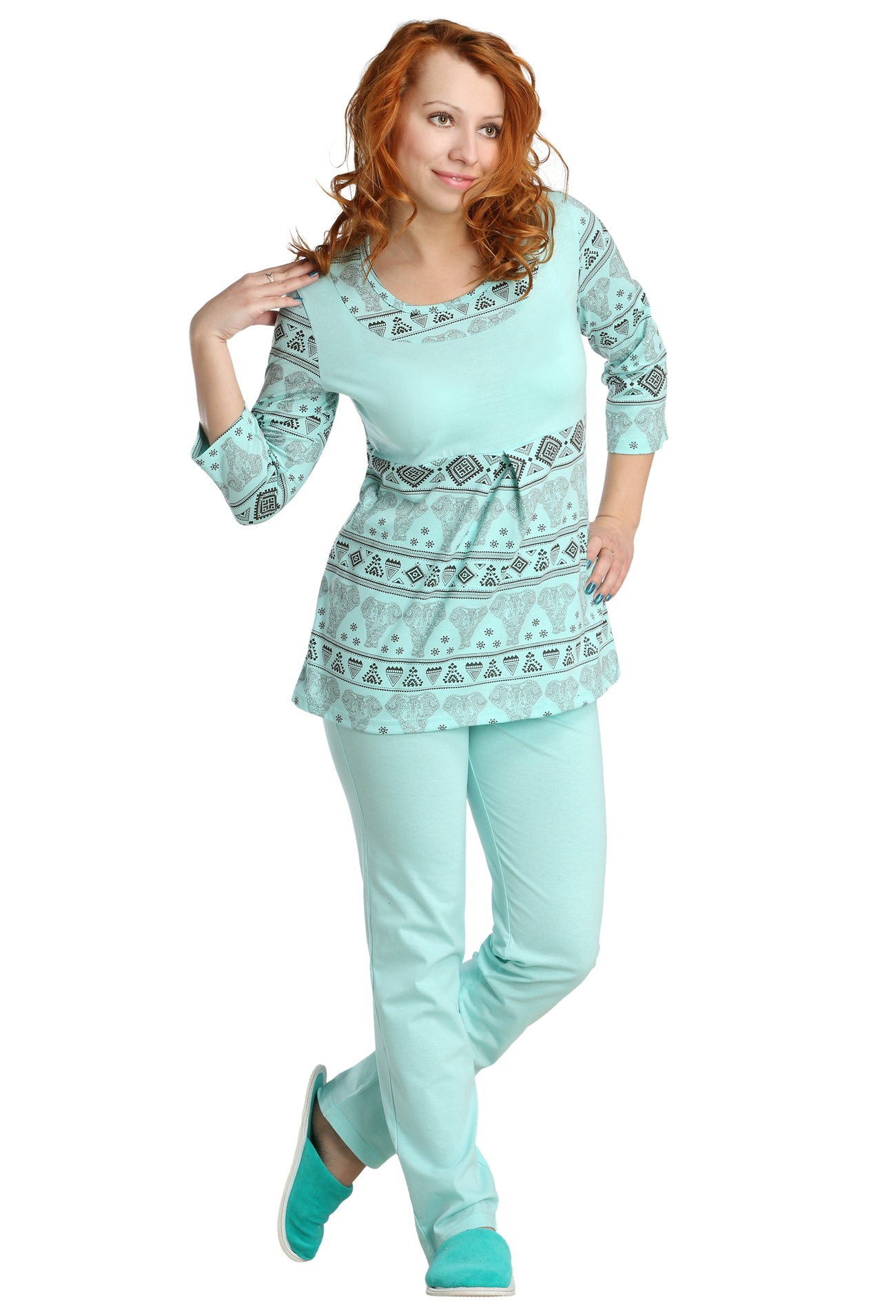 Жен. пижама арт. 16-0087 Ментол р. 44 пижама жен mia cara майка шорты botanical aw15 ubl lst 264 р 42 44 1119503