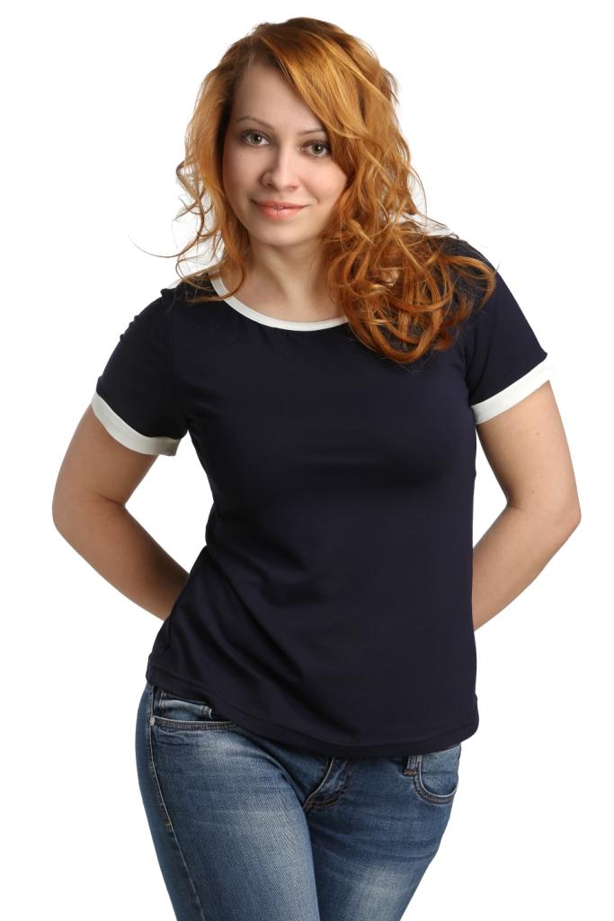 Жен. блуза арт. 16-0111 Темно-синий р. 52 ЕленаТекс