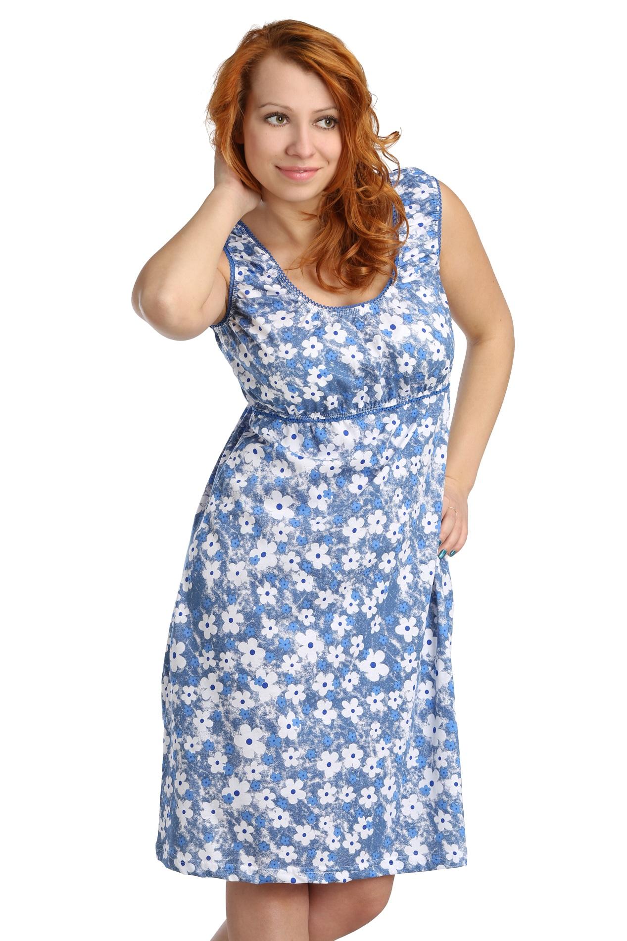 Жен. платье арт. 16-0099 Голубой р. 50Платья<br>Обхват груди:100 см<br>Обхват талии:82 см<br>Обхват бедер:108 см<br>Длина по спинке:100 см<br>Рост:164-170 см<br><br>Тип: Жен. платье<br>Размер: 50<br>Материал: Кулирка