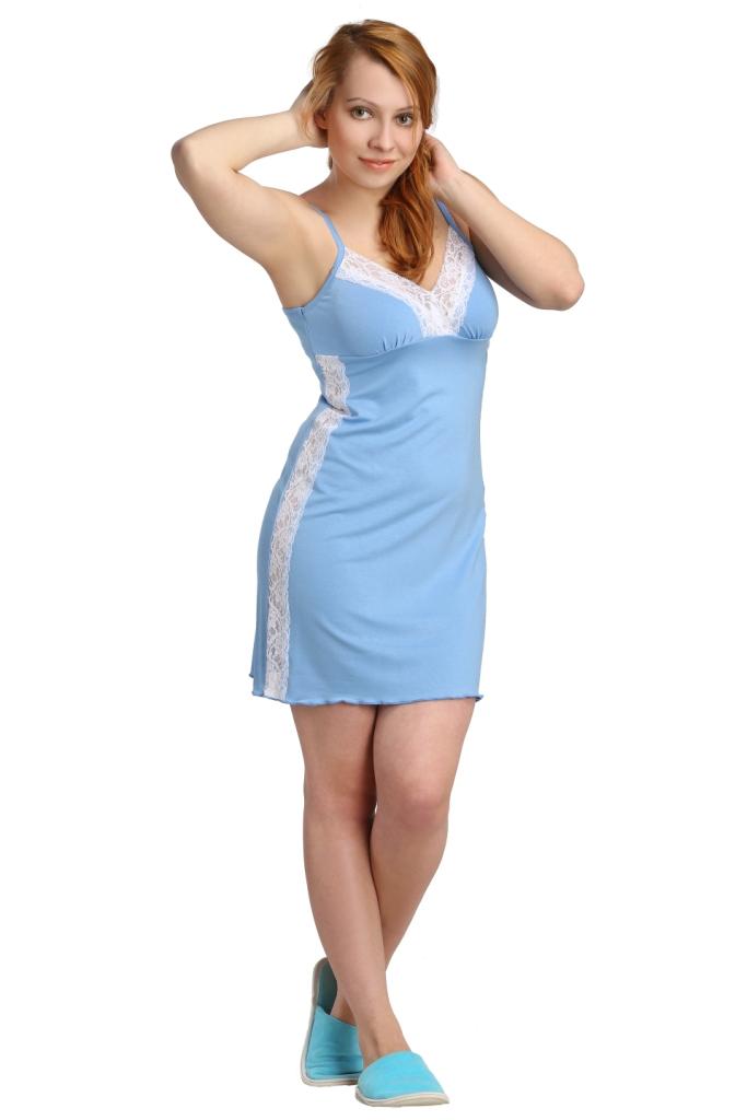 Жен. сорочка арт. 16-0116 Голубой р. 42Ночные сорочки<br>Обхват груди: 84 см <br>Обхват талии: 65 см <br>Обхват бедер: 92 см <br>Длина по спинке: 70 см <br>Рост: 164-170 см<br><br>Тип: Жен. сорочка<br>Размер: 42<br>Материал: Вискоза