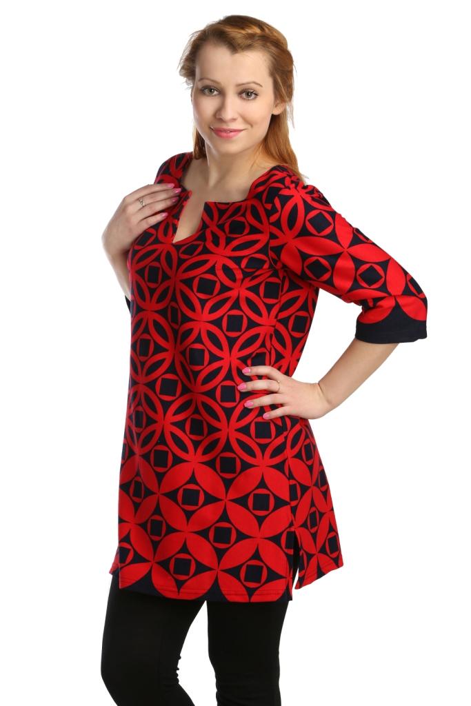 Жен. туника арт. 16-0117 Красный р. 46Распродажа женской одежды<br>Обхват груди: 92 см <br>Обхват талии: 73 см <br>Обхват бедер: 100 см <br>Длина по спинке: 79 см <br>Рост: 164-170 см<br><br>Тип: Жен. туника<br>Размер: 46<br>Материал: Интерлок
