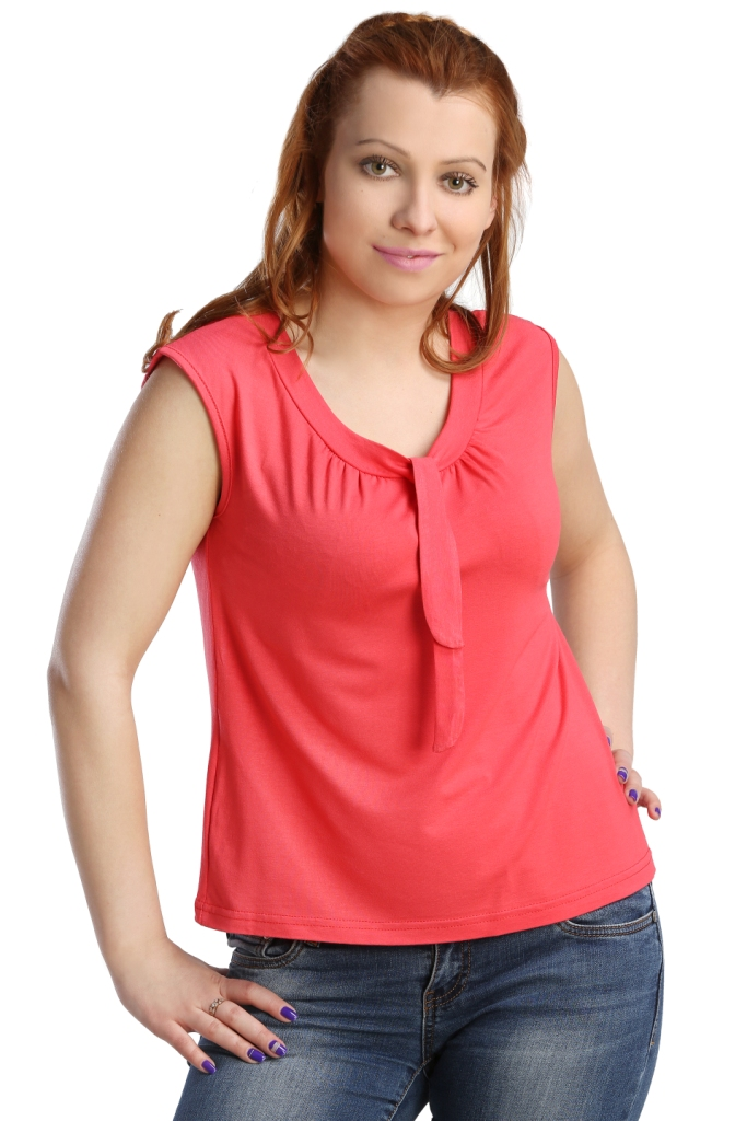 Жен. блуза арт. 16-0123 Коралловый р. 44Блузы<br>Обхват груди: 88 см <br>Обхват талии: 69 см <br>Обхват бедер: 96 см <br>Длина по спинке: 55 см <br>Рост: 164-170 см<br><br>Тип: Жен. блуза<br>Размер: 44<br>Материал: Вискоза