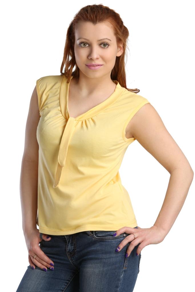 Жен. блуза арт. 16-0123 Желтый р. 52Распродажа женской одежды<br>Обхват груди: 104 см <br>Обхват талии: 86 см <br>Обхват бедер: 112 см <br>Длина по спинке: 58 см <br>Рост: 164-170 см<br><br>Тип: Жен. блуза<br>Размер: 52<br>Материал: Вискоза