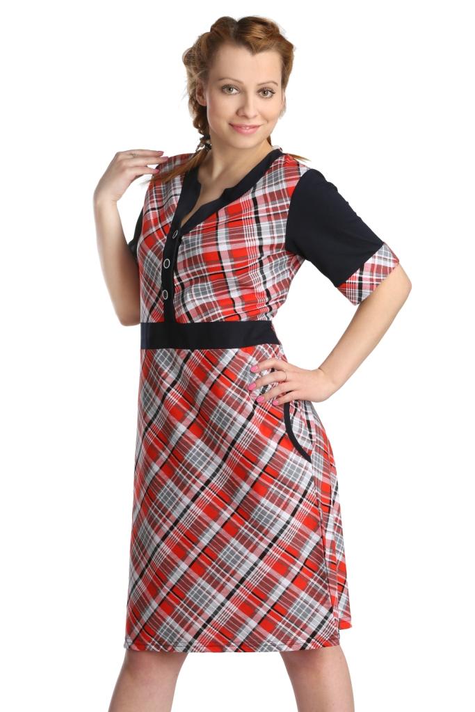 Жен. платье арт. 16-0127 Красный р. 56 ЕленаТекс