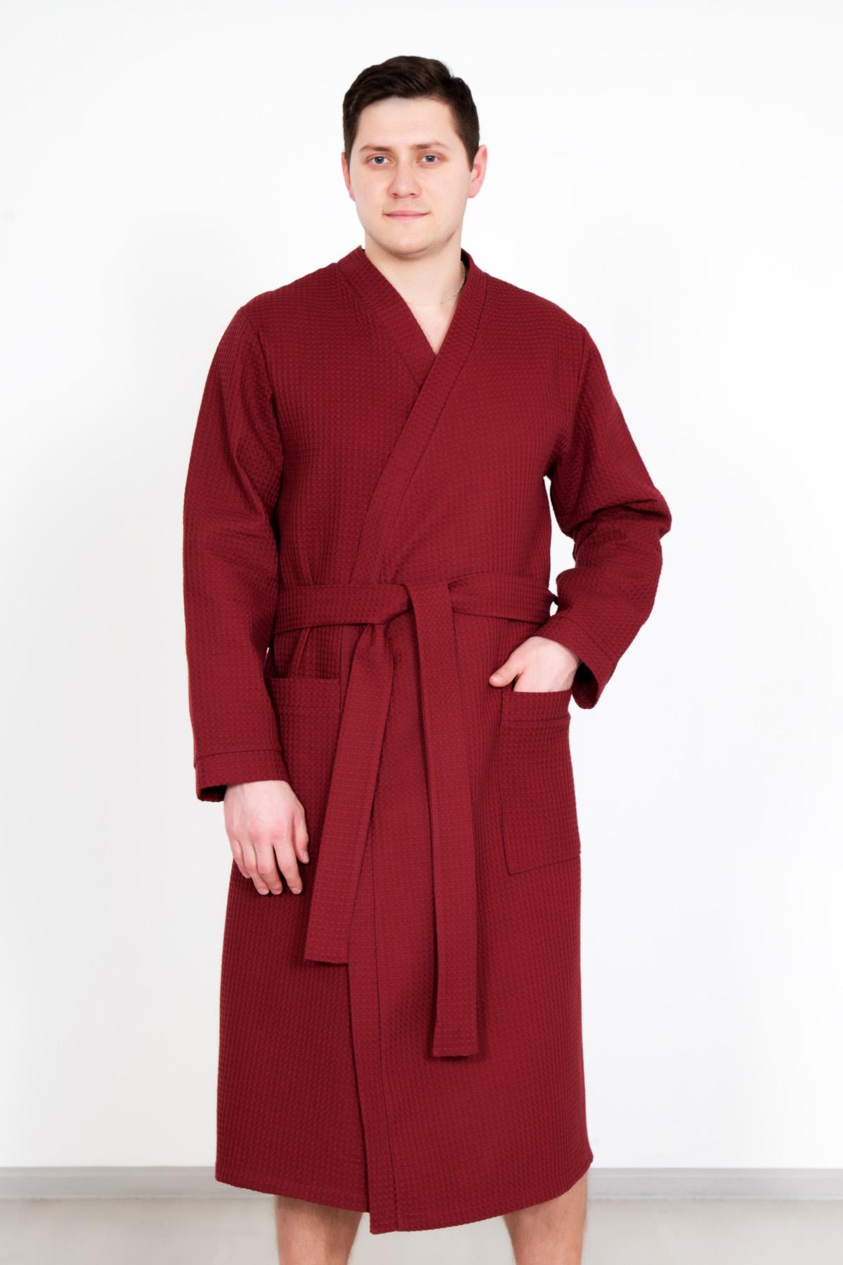 Муж. халат  Алан  Бордовый р. 56 - Мужская одежда артикул: 23359