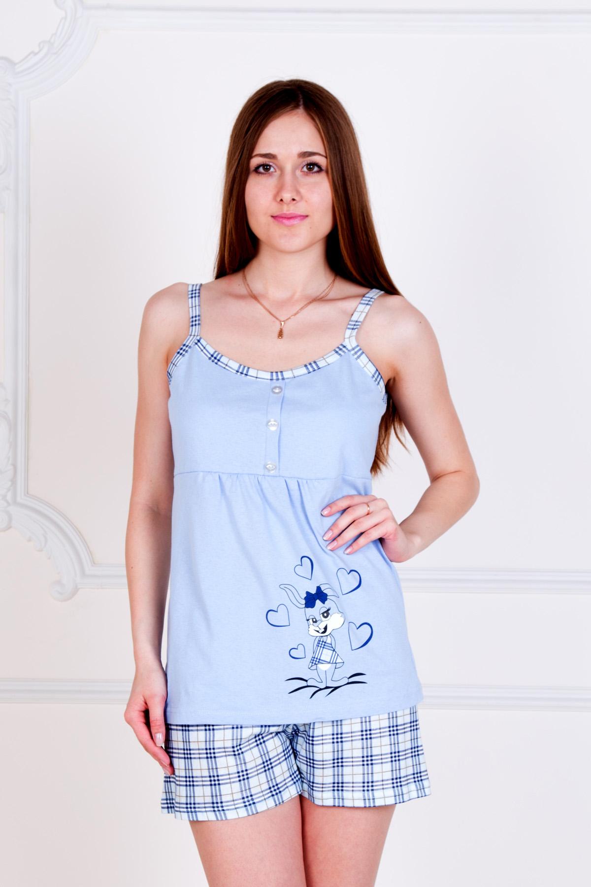 """Жен. пижама """"Зайка"""" Голубой р. 50 Лика Дресс"""