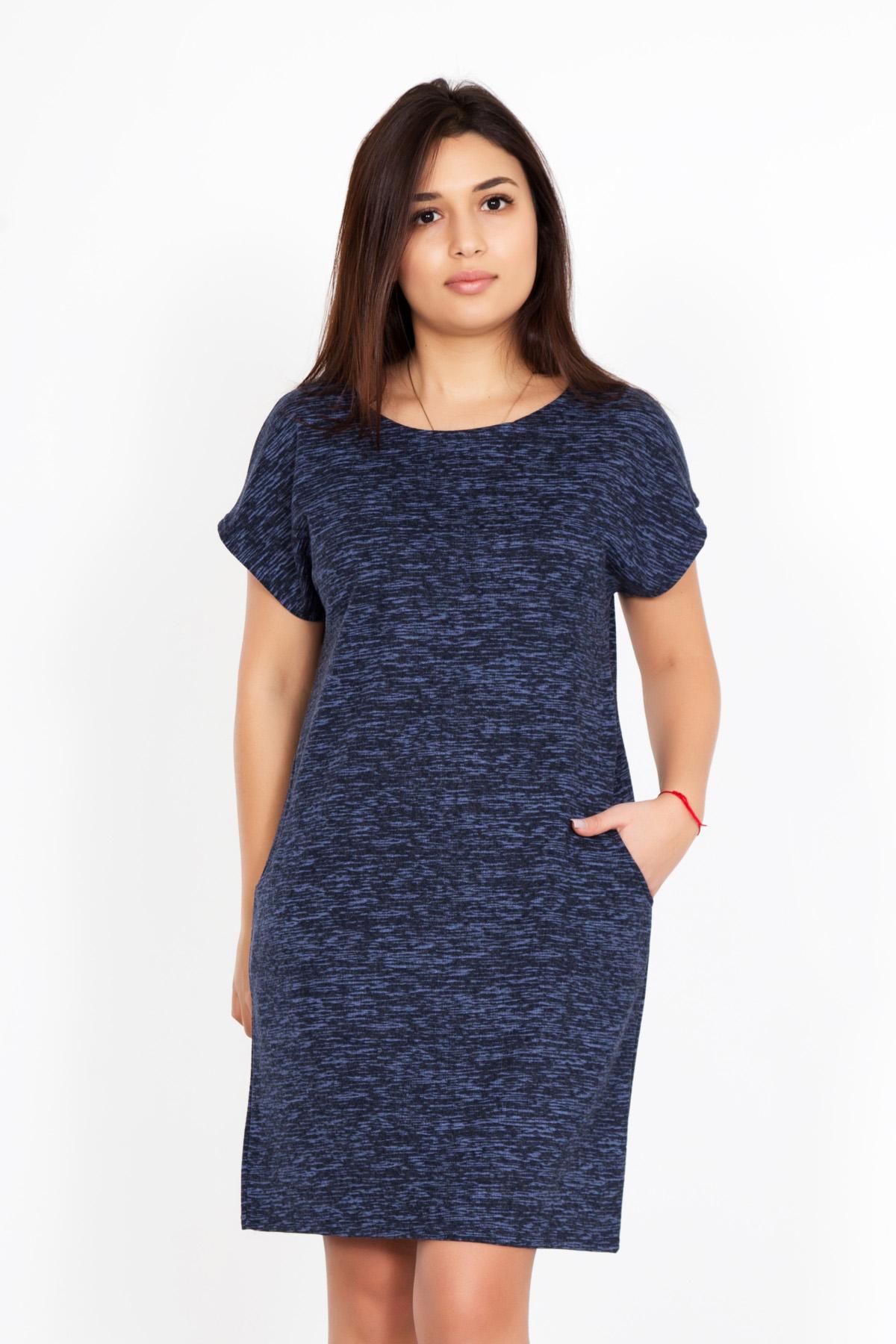 Жен. платье Кайла Синий р. 48Платья, туники<br>Обхват груди:96 см<br>Обхват талии:78 см<br>Обхват бедер:104 см<br>Длина по спинке:84 см<br>Рост:167 см<br><br>Тип: Жен. платье<br>Размер: 48<br>Материал: Футер