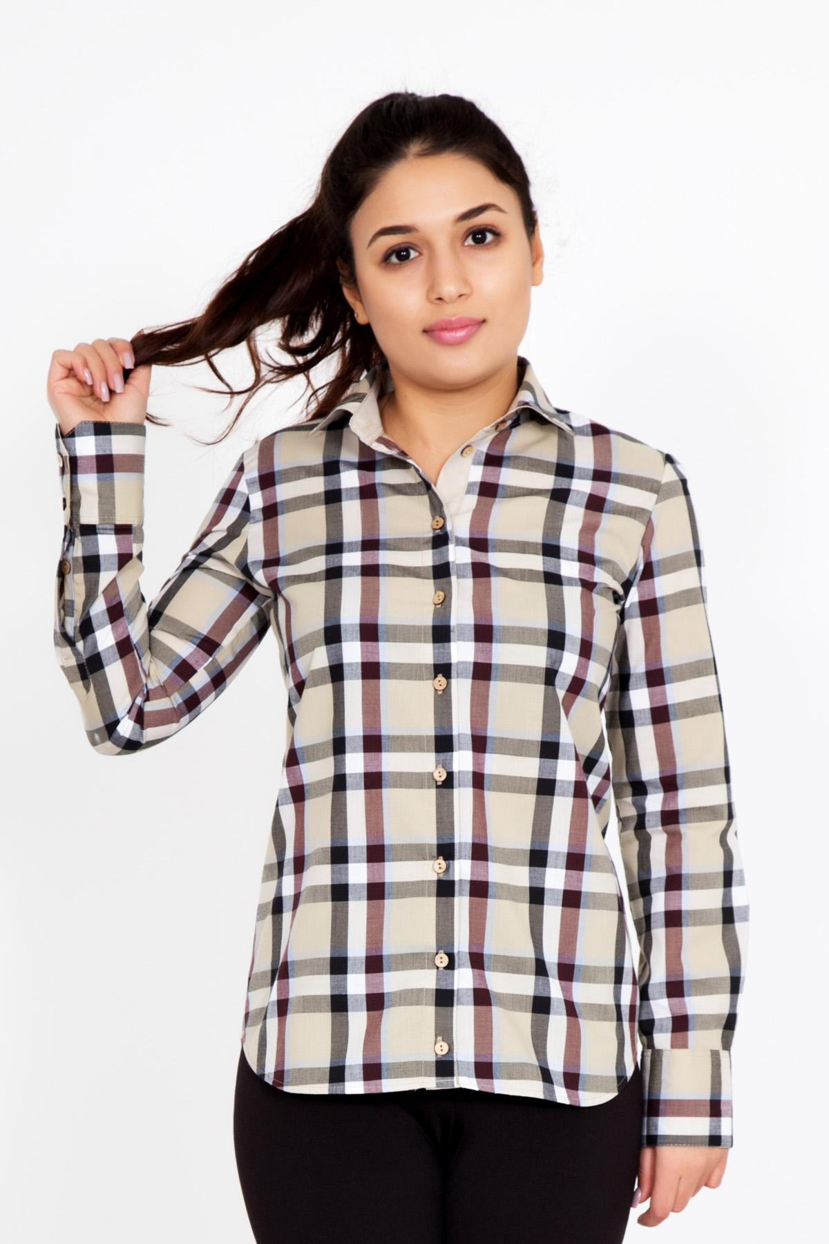 Жен. рубашка  Нидия  Бежевый р. 42 - Женская одежда артикул: 23511