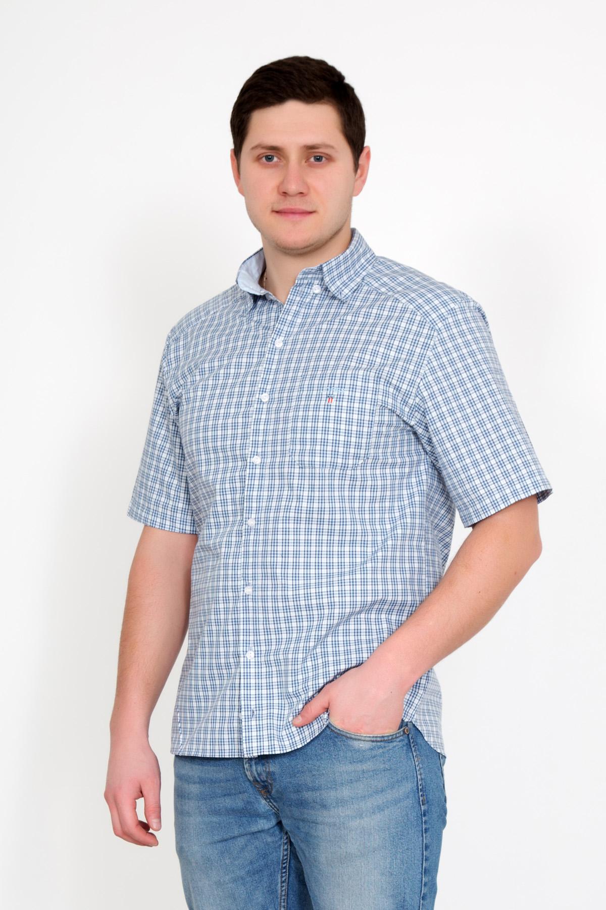 Муж. рубашка Жора Голубой р. 56Толстовки, джемпера и рубашки<br>Обхват груди:112 см<br>Обхват талии:104 см<br>Обхват бедер:112 см<br>Обхват шеи:44 см<br>Длина по спинке:78 см<br>Рост:178-186 см<br><br>Тип: Муж. рубашка<br>Размер: 56<br>Материал: Сорочечная перкаль