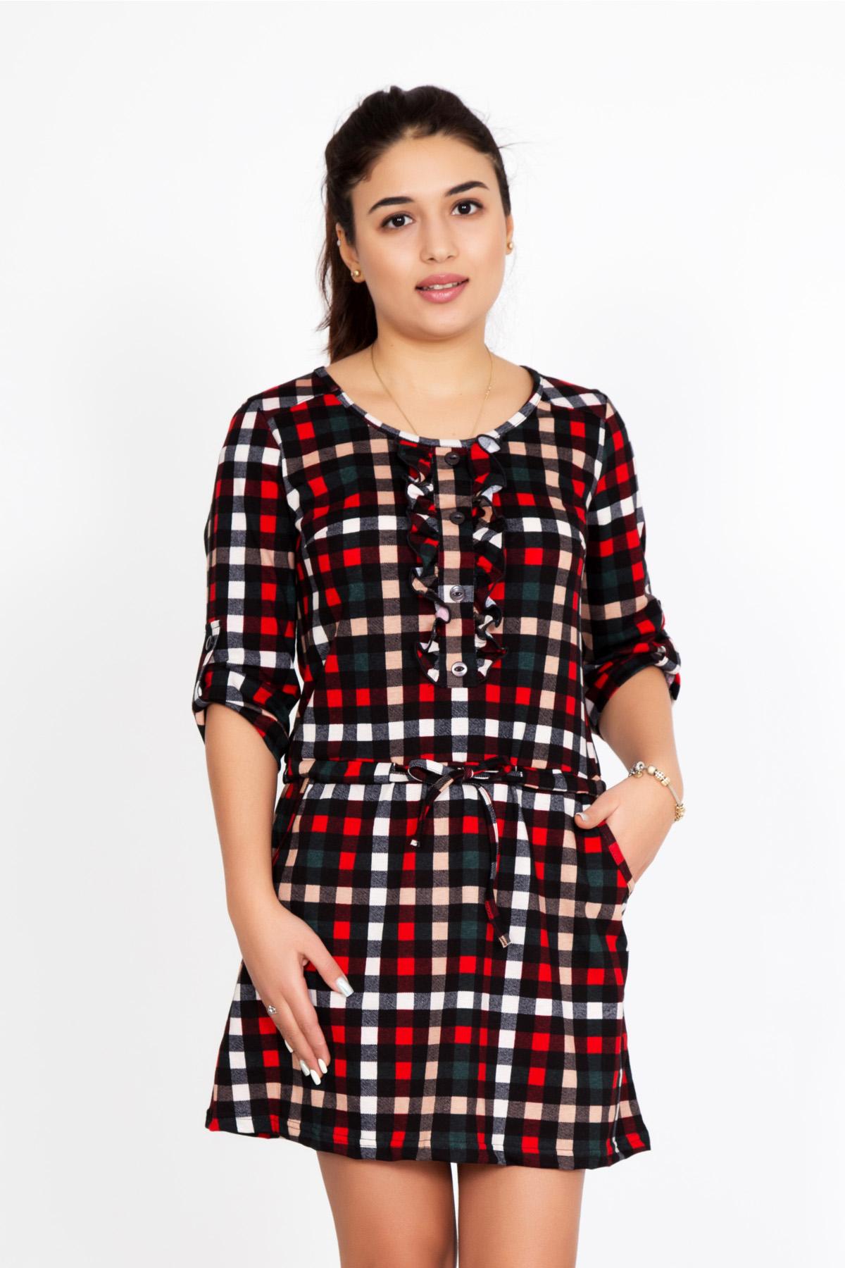 Жен. туника Шарлота Красный р. 44Распродажа женской одежды<br>Обхват груди: 88 см <br>Обхват талии: 68 см <br>Обхват бедер: 96 см <br>Длина по спинке: 81 см <br>Рост: 167 см<br><br>Тип: Жен. туника<br>Размер: 44<br>Материал: Кулирка