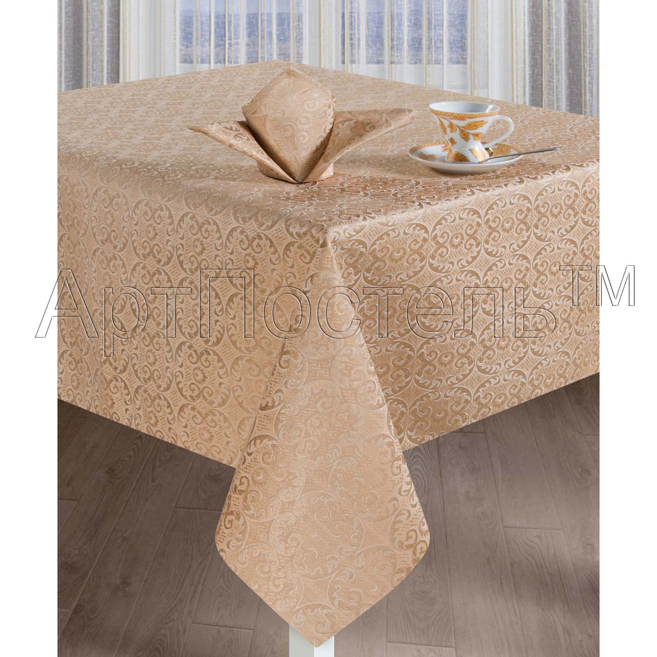 Кухонные принадлежности Марго Капучино р. 150х220Скатерти<br>Скатерть: 220х150 см - 1 шт. <br>Салфетка: 40х40 см - 6 шт.<br><br>Тип: Кухонные принадлежности<br>Размер: 150х220<br>Материал: Жаккард
