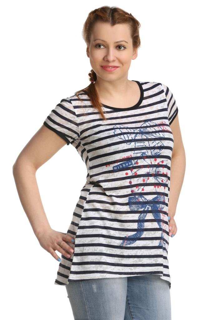 Жен. туника арт. 16-0138 р. 46Туники<br>Обхват груди: 92 см <br>Обхват талии: 73 см <br>Обхват бедер: 100 см <br>Длина по спинке: 77 см <br>Рост: 164-170 см<br><br>Тип: Жен. туника<br>Размер: 46<br>Материал: Деворе