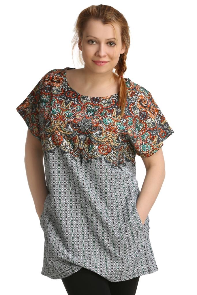 Жен. туника арт. 16-0147 р. 50Распродажа женской одежды<br>Обхват груди: 100 см <br>Обхват талии: 82 см <br>Обхват бедер: 108 см <br>Длина по спинке: 78 см <br>Рост: 164-170 см<br><br>Тип: Жен. туника<br>Размер: 50<br>Материал: Кулирка