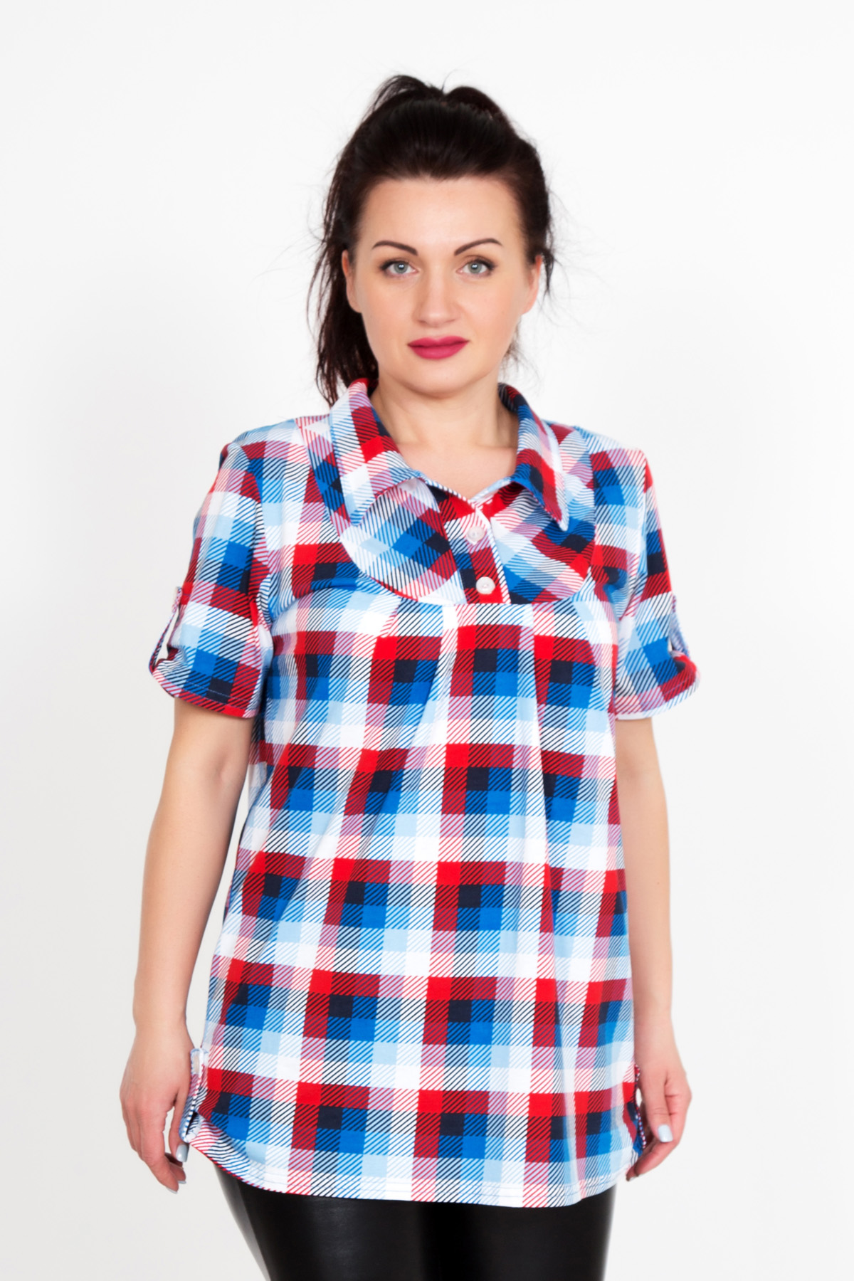 Жен. блуза Юнона Красный р. 52Распродажа женской одежды<br>Обхват груди: 104 см <br>Обхват талии: 85 см <br>Обхват бедер: 112 см <br>Длина по спинке: 72 см <br>Рост: 167 см<br><br>Тип: Жен. блуза<br>Размер: 52<br>Материал: Кулирка