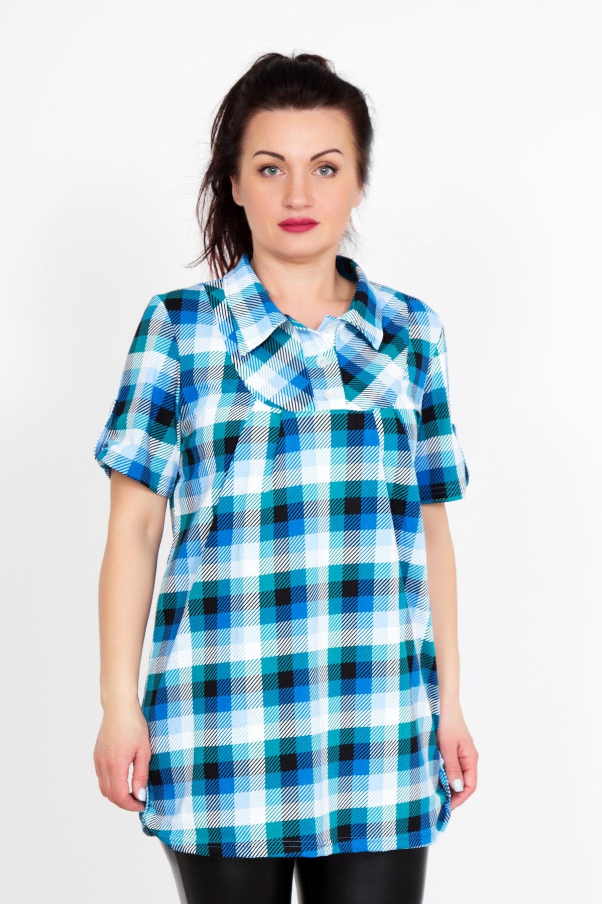 Жен. блуза Юнона Бирюзовый р. 62Распродажа женской одежды<br>Обхват груди: 124 см <br>Обхват талии: 105 см <br>Обхват бедер: 132 см <br>Длина по спинке: 76 см <br>Рост: 167 см<br><br>Тип: Жен. блуза<br>Размер: 62<br>Материал: Кулирка