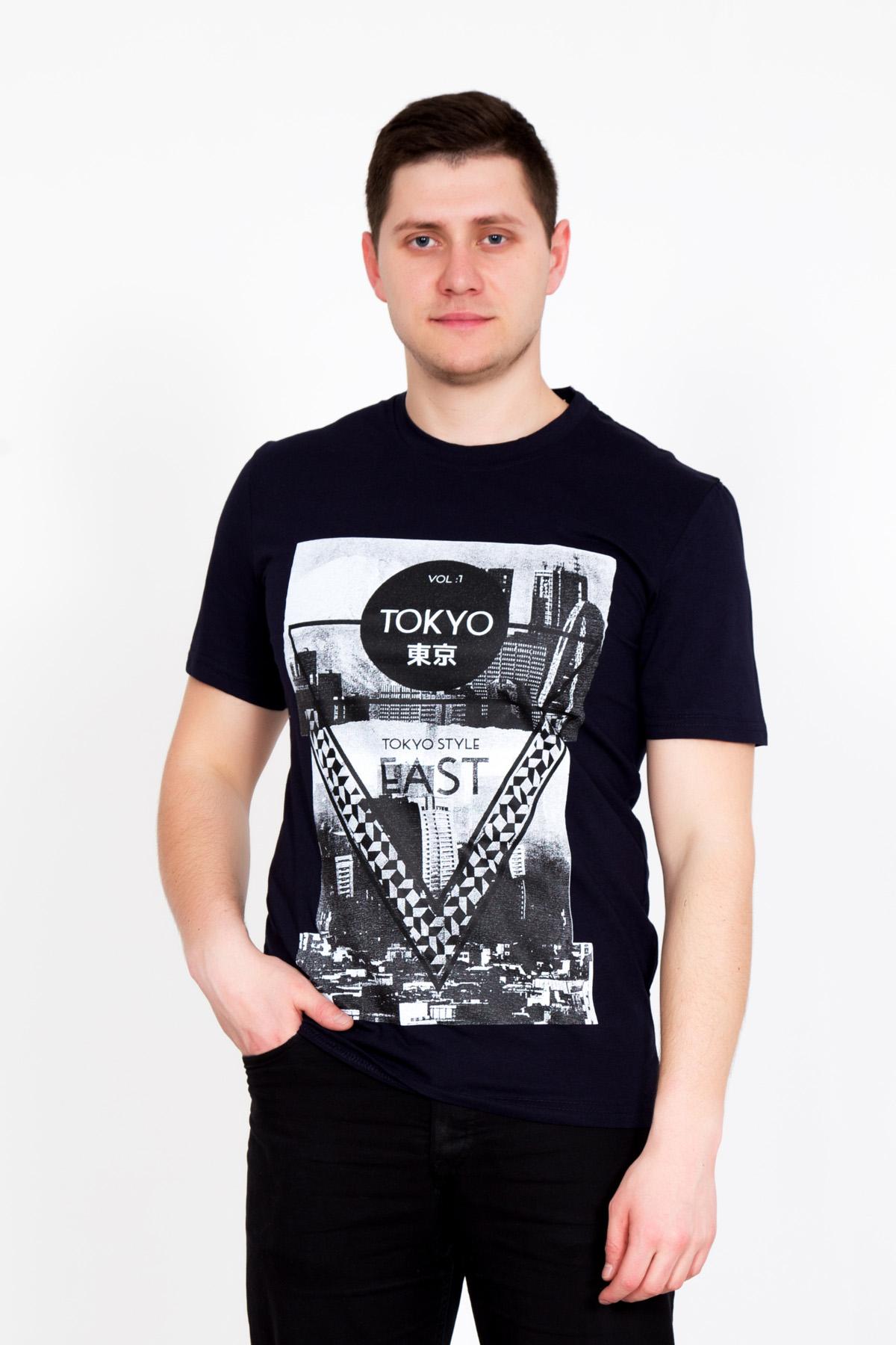 Муж. футболка Токио Черный р. 50Майки и футболки<br>Обхват груди:100 см<br>Обхват талии:92 см<br>Обхват бедер:106 см<br>Длина по спинке:72 см<br>Рост:176-182 см<br><br>Тип: Муж. футболка<br>Размер: 50<br>Материал: Кулирка