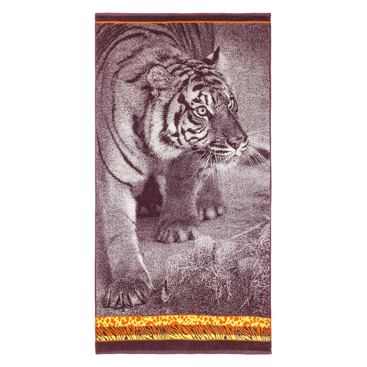 Полотенце Тигр Коричневый р. 70х140Махровые полотенца<br>Плотность ткани:420 г/кв. М<br><br>Тип: Полотенце<br>Размер: 70х140<br>Материал: Махра