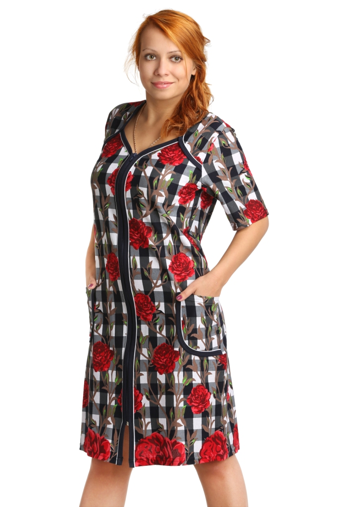 Жен. халат арт. 16-0168 Красный р. 52 bell sleeve lace insert mini party dress