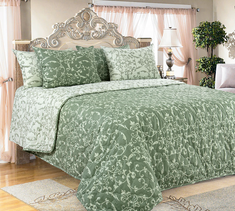 Покрывало  Вирджиния  Зеленый р. 240х210 - Текстиль для дома артикул: 26028