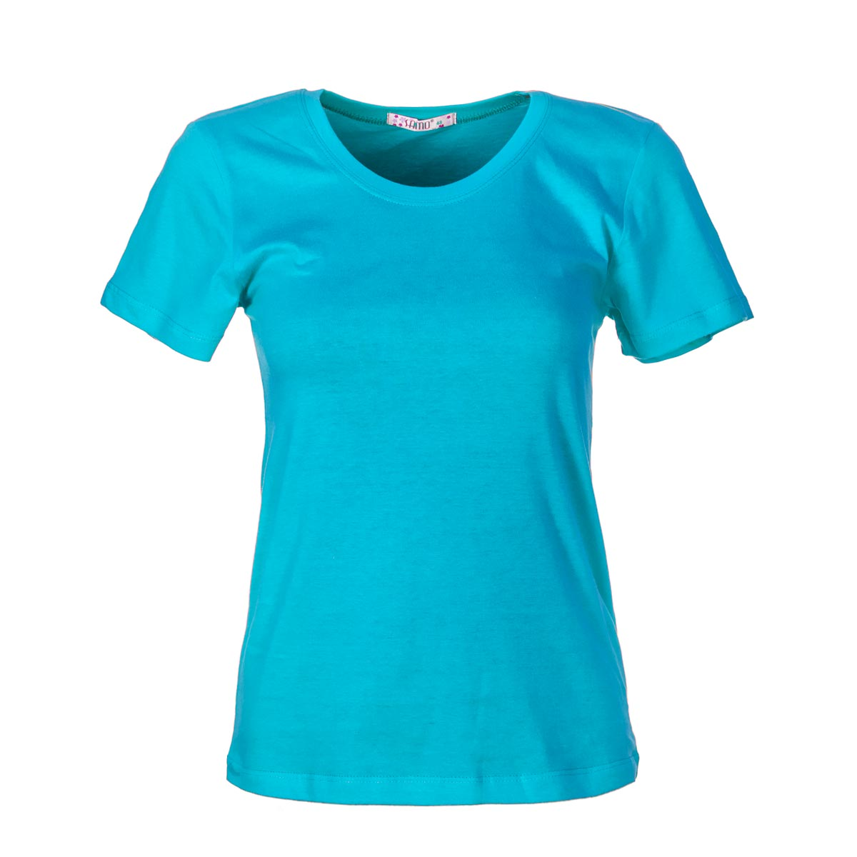 Жен. футболка арт. 04-0045 Голубой р. 44Майки и футболки<br>Фактический ОГ:72 см<br>Фактический ОТ:72 см<br>Фактический ОБ:84 см<br>Длина по спинке:55.5 см<br>Рост:164-170 см<br><br>Тип: Жен. футболка<br>Размер: 44<br>Материал: Супрем