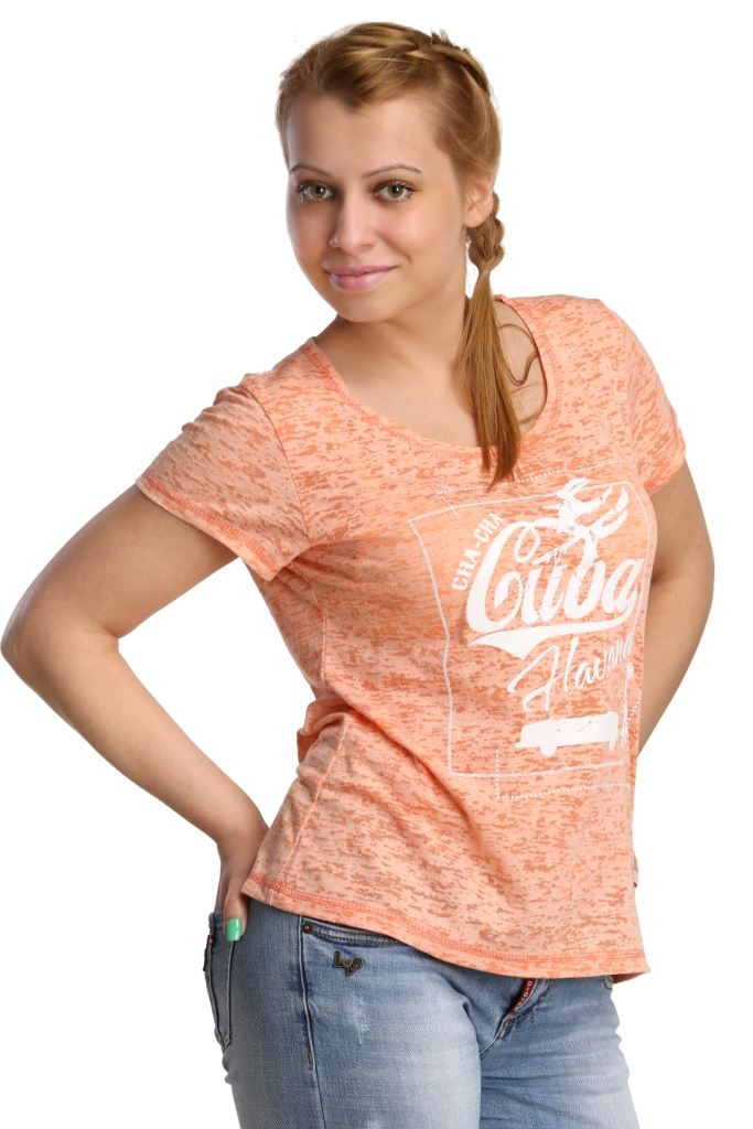 Жен. футболка арт. 16-0175 Коралловый р. 48Майки и футболки<br>Обхват груди: 96 см <br>Обхват талии: 77 см <br>Обхват бедер: 104 см <br>Длина по спинке: 60 см <br>Рост: 164-170 см<br><br>Тип: Жен. футболка<br>Размер: 48<br>Материал: Деворе