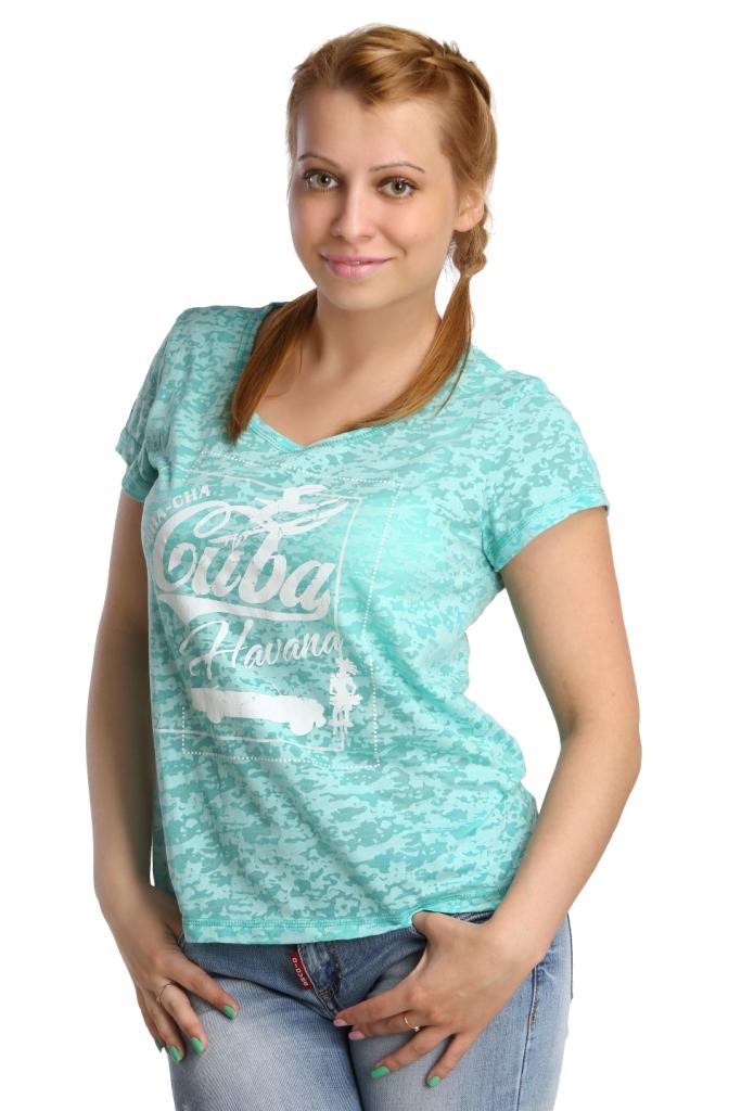 Жен. футболка арт. 16-0175 Зеленый р. 50Майки и футболки<br>Обхват груди:100 см<br>Обхват талии:82 см<br>Обхват бедер:108 см<br>Длина по спинке:61 см<br>Рост:164-170 см<br><br>Тип: Жен. футболка<br>Размер: 50<br>Материал: Деворе
