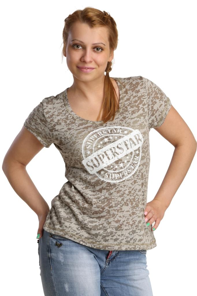 Жен. футболка арт. 16-0176 Хаки р. 48Майки и футболки<br>Обхват груди: 96 см <br>Обхват талии: 77 см <br>Обхват бедер: 104 см <br>Длина по спинке: 60 см <br>Рост: 164-170 см<br><br>Тип: Жен. футболка<br>Размер: 48<br>Материал: Деворе