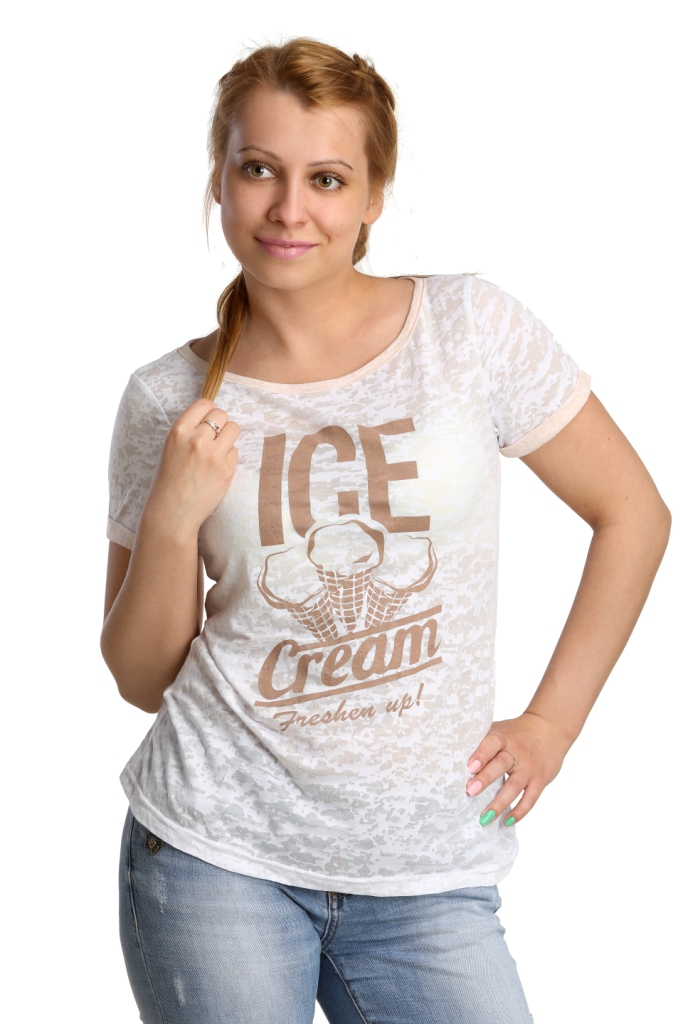 Жен. футболка арт. 16-0177 Белый р. 52Майки и футболки<br>Обхват груди: 104 см <br>Обхват талии: 86 см <br>Обхват бедер: 112 см <br>Длина по спинке: 63 см <br>Рост: 164-170 см<br><br>Тип: Жен. футболка<br>Размер: 52<br>Материал: Деворе