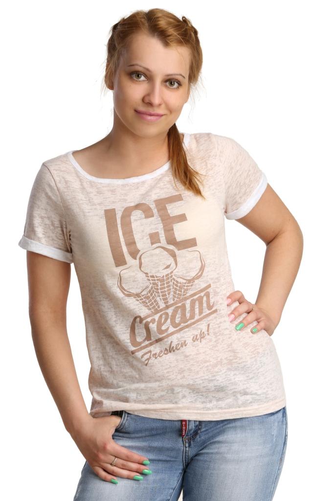 Жен. футболка арт. 16-0177 Молочный р. 52Майки и футболки<br>Обхват груди: 104 см <br>Обхват талии: 86 см <br>Обхват бедер: 112 см <br>Длина по спинке: 63 см <br>Рост: 164-170 см<br><br>Тип: Жен. футболка<br>Размер: 52<br>Материал: Деворе