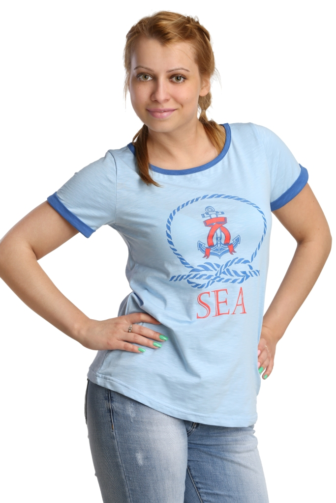 Жен. футболка арт. 16-0187 Голубой р. 50Майки и футболки<br>Обхват груди: 100 см <br>Обхват талии: 82 см <br>Обхват бедер: 108 см <br>Длина по спинке: 61 см <br>Рост: 164-170 см<br><br>Тип: Жен. футболка<br>Размер: 50<br>Материал: Кулирка