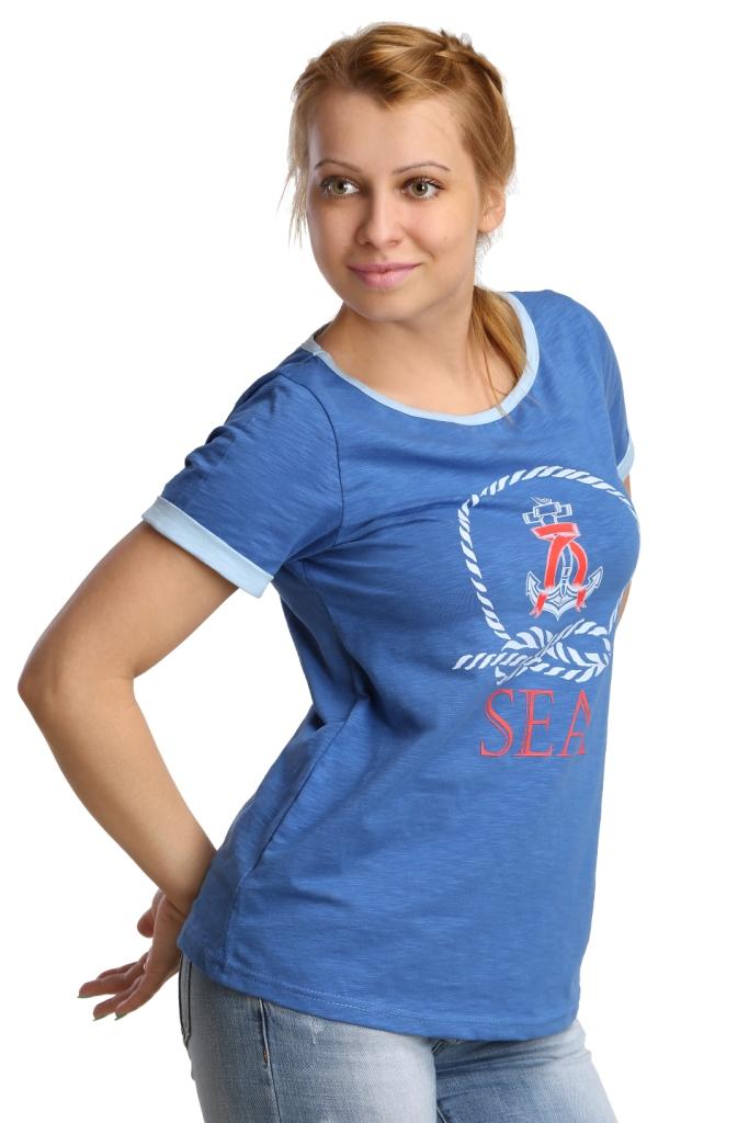 Жен. футболка арт. 16-0187 синий р.