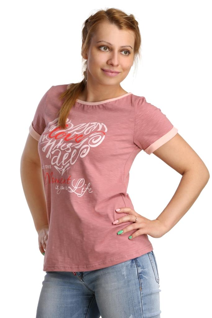 Жен. футболка арт. 16-0188 Чайная роза р. 44Майки и футболки<br>Обхват груди: 88 см <br>Обхват талии: 69 см <br>Обхват бедер: 96 см <br>Длина по спинке: 58 см <br>Рост: 164-170 см<br><br>Тип: Жен. футболка<br>Размер: 44<br>Материал: Кулирка