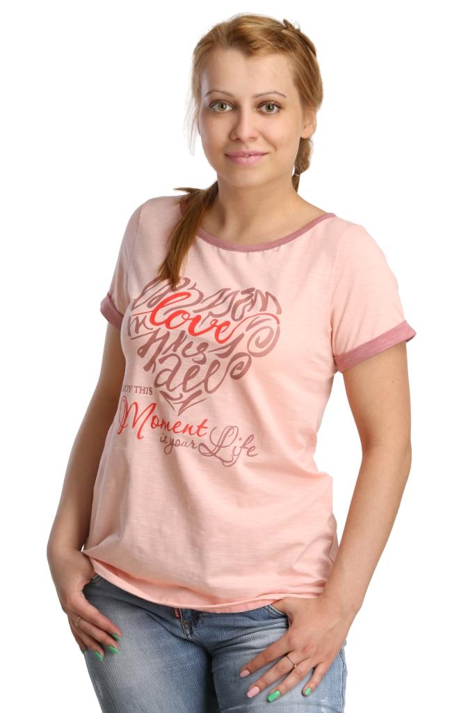 Жен. футболка арт. 16-0188 Персиковый р. 44Майки и футболки<br>Обхват груди: 88 см <br>Обхват талии: 69 см <br>Обхват бедер: 96 см <br>Длина по спинке: 58 см <br>Рост: 164-170 см<br><br>Тип: Жен. футболка<br>Размер: 44<br>Материал: Кулирка