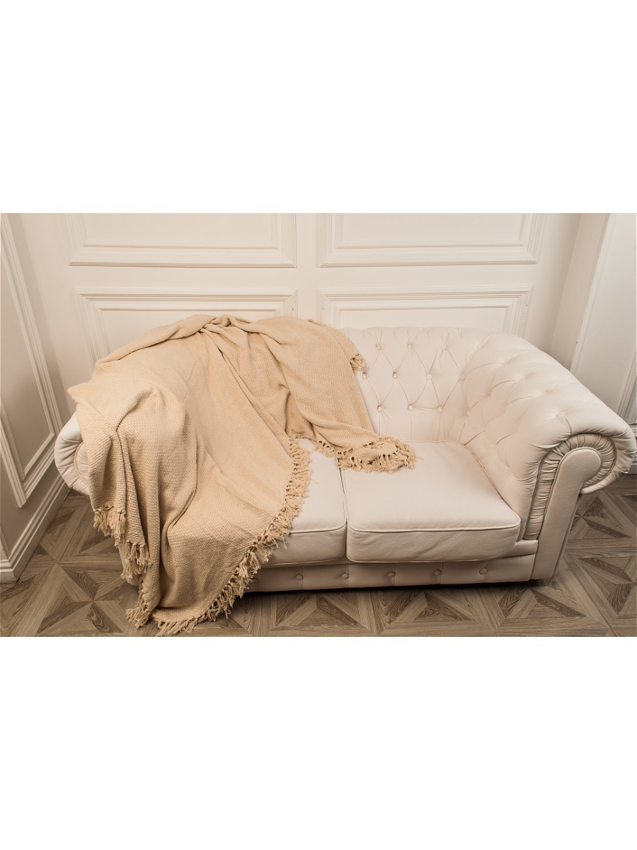 Плед Каштан Бежевый р. 160х220Покрывала<br>Плотность ткани:350 г/кв. м<br><br>Тип: Плед<br>Размер: 160х220<br>Материал: Вязаное полотно