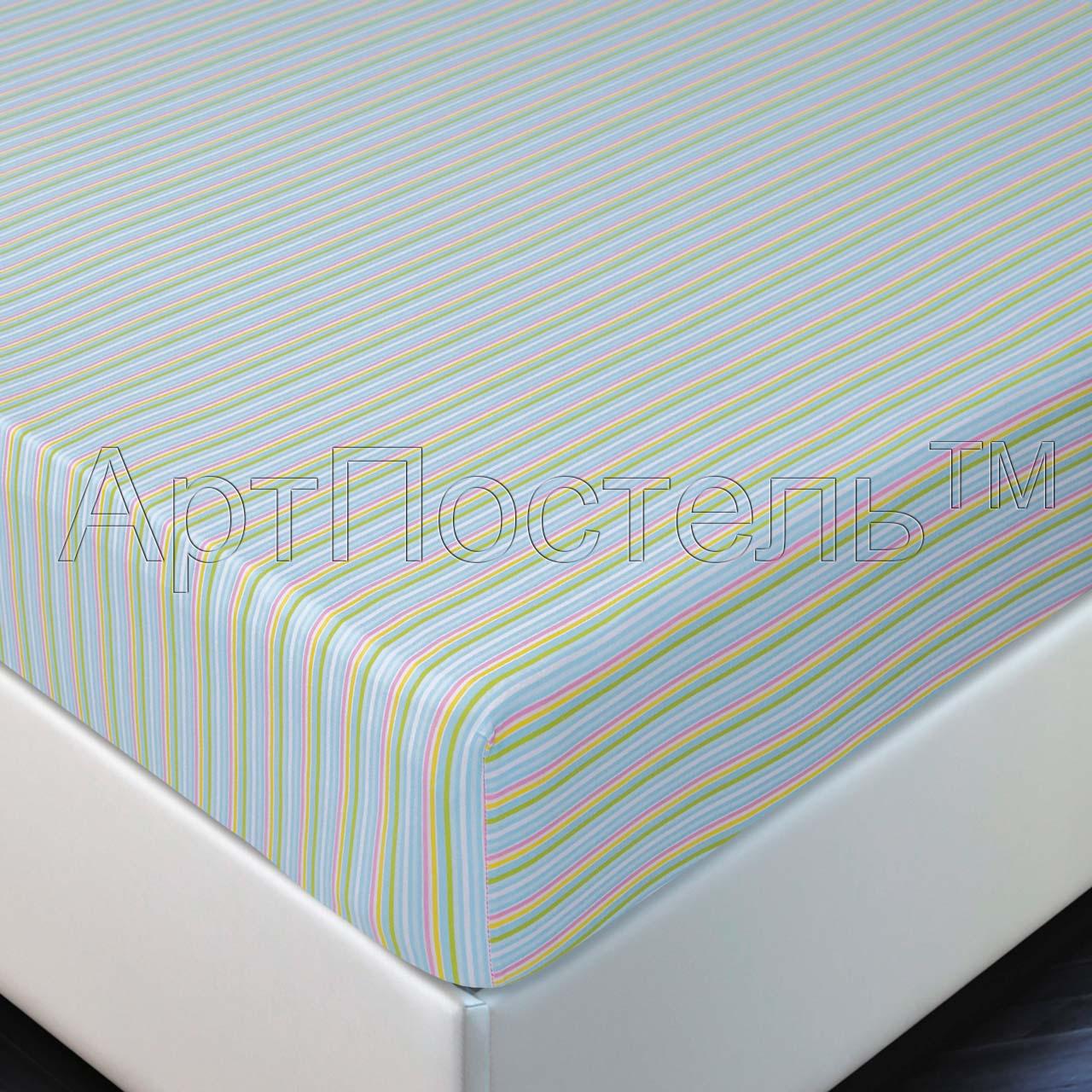 Простыня на резинке Радуга р. 160х200Простыни<br>Плотность ткани: 140 г/кв. м <br>Высота матраса: 20 см<br><br>Тип: Простыня на резинке<br>Размер: 160х200<br>Материал: Кулирка