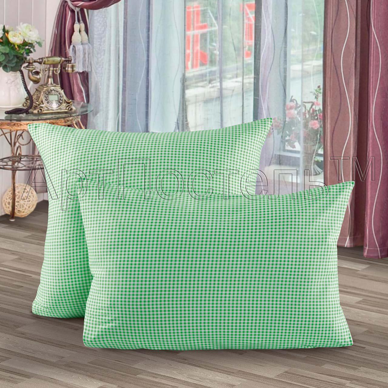 Наволочки  Клетка  Зеленый р. 70х70 - Постельное белье артикул: 26993