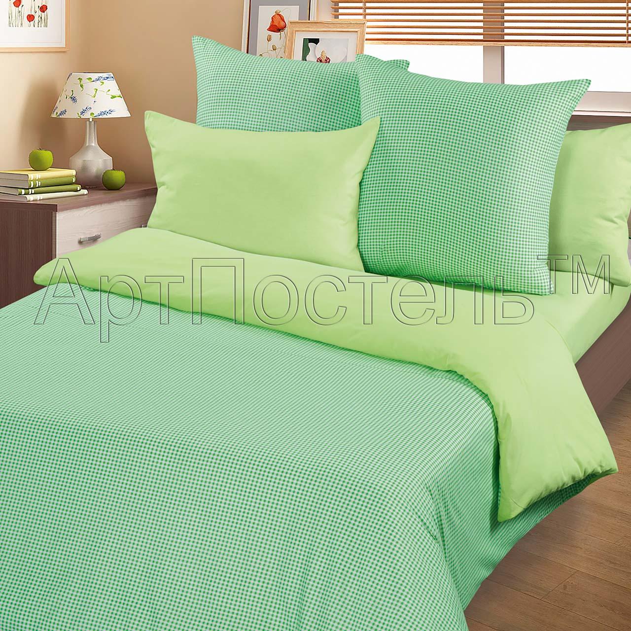 Пододеяльник  Клетка  Зеленый р. 205х215 - Постельное белье артикул: 27010