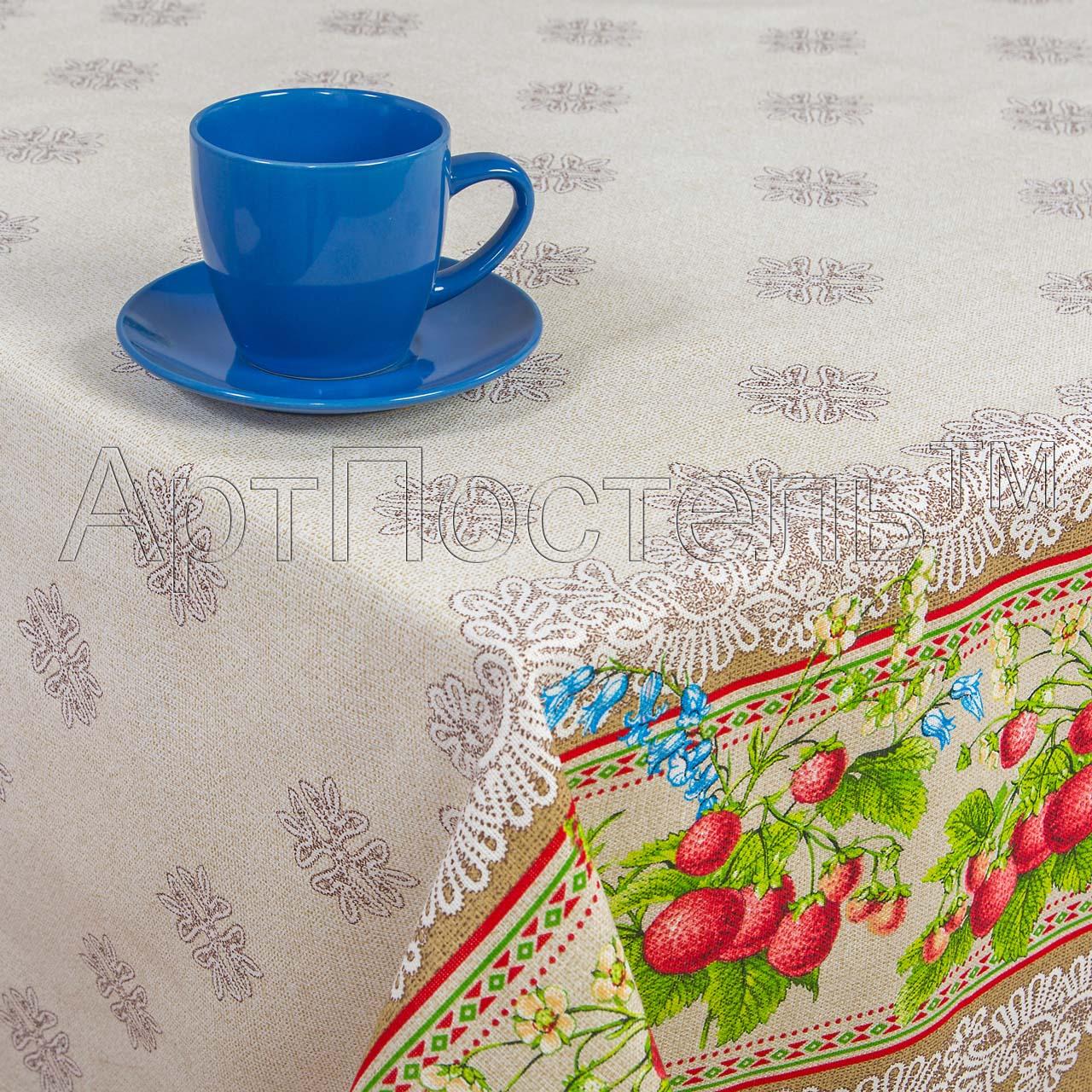 Скатерть Земляничка р. 120х145Кухонные принадлежности<br>Плотность ткани: 160 г/кв. м<br><br>Тип: Скатерть<br>Размер: 120х145<br>Материал: Рогожка