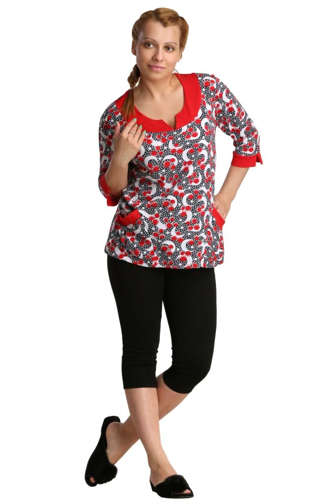 Жен. блуза арт. 16-0208 Красный р. 64 - Женская одежда артикул: 27552
