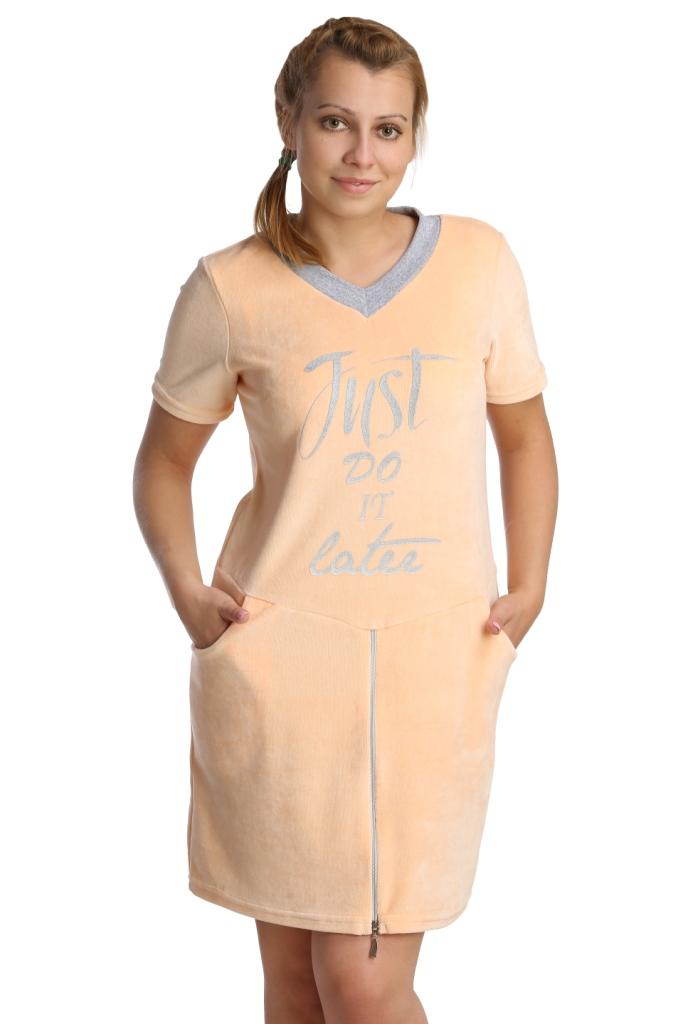 Жен. платье арт. 16-0211 Персиковый р. 44Платья<br>Обхват груди: 88 см <br>Обхват талии: 69 см <br>Обхват бедер: 96 см <br>Длина по спинке: 84 см <br>Рост: 164-170 см<br><br>Тип: Жен. платье<br>Размер: 44<br>Материал: Велюр