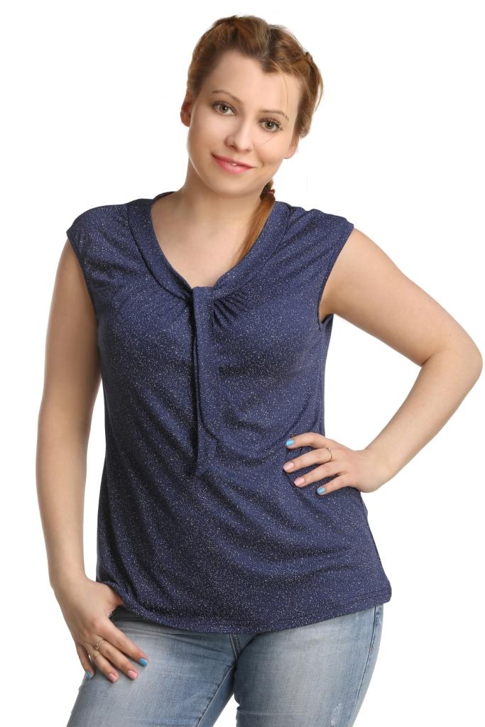 Жен. блуза арт. 16-0222 Темно-синий р. 54 - Женская одежда артикул: 27906