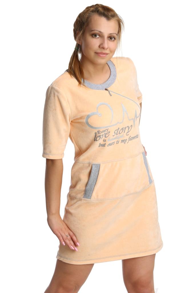 Жен. платье арт. 16-0237 Персиковый р. 52Платья<br>Обхват груди: 104 см <br>Обхват талии: 86 см <br>Обхват бедер: 112 см <br>Длина по спинке: 87 см <br>Рост: 164-170 см<br><br>Тип: Жен. платье<br>Размер: 52<br>Материал: Велюр