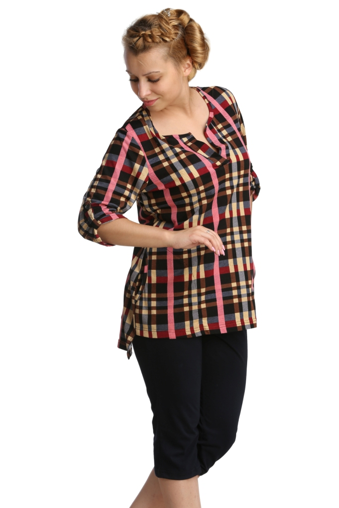 Жен. туника арт. 16-0234 р. 54Туники<br>Обхват груди: 108 см <br>Обхват талии: 90 см <br>Обхват бедер: 116 см <br>Длина по спинке: 76 см <br>Рост: 164-170 см<br><br>Тип: Жен. туника<br>Размер: 54<br>Материал: Кулирка